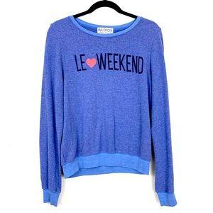 Wildfox Blue Le Weekend Pullover Sweatshirt XS